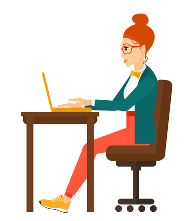 young woman sitting: A young woman sitting at the table and working at the laptop vector flat design illustration isolated on white background. Square layout.