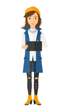 the caucasian: A caucasian young woman standing with tablet computer in hands vector flat design illustration isolated on white background. Vertical layout.