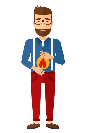 Een hipster man met de baard die lijden aan maagzuur vector platte ontwerp illustratie op een witte achtergrond. Verticale lay-out. Stock Illustratie