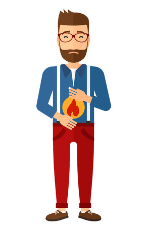 A hipster man with the beard suffering from heartburn vector flat design illustration isolated on white background. Vertical layout. Vettoriali