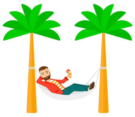chilling: A man chilling in hammock with a cocktail in a hand vector flat design illustration isolated on white background. Horizontal layout. Illustration
