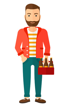 A hipster man with the beard holding a pack of beer in hands vector flat design illustration isolated on white background. Vertical layout. Illustration