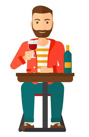 vertical bar: A hipster man with the beard sitting at bar and drinking wine vector flat design illustration isolated on white background. Vertical layout.