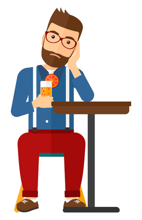 sorrowful: A sad hipster man with the beard sitting at bar with a glass of juice vector flat design illustration isolated on white background. Vertical layout. Illustration