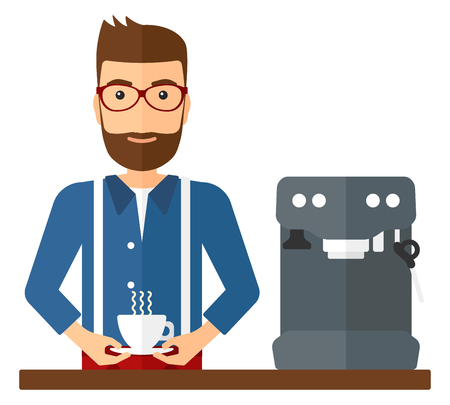 coffee table: A smiling man preparing coffee with coffee-machine vector flat design illustration isolated on white background. Square layout.