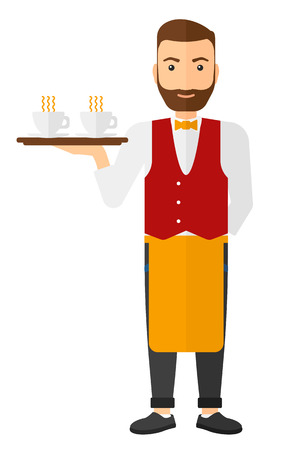 A charming waiter holding a tray with cups of tea or coffee vector flat design illustration isolated on white background. Vertical layout.