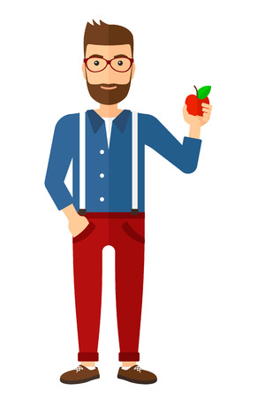 comiendo frutas: A man holding an apple vector flat design illustration isolated on white background. Vertical layout.