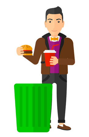 A man putting junk food into a trash bin vector flat design illustration isolated on white background. Vertical layout. Ilustrace
