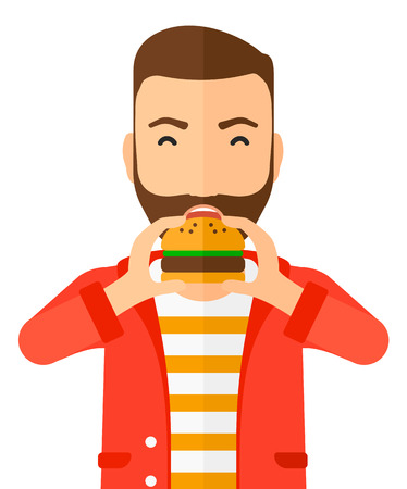 A happy hipster man eating hamburger vector flat design illustration isolated on white background. Vertical layout.