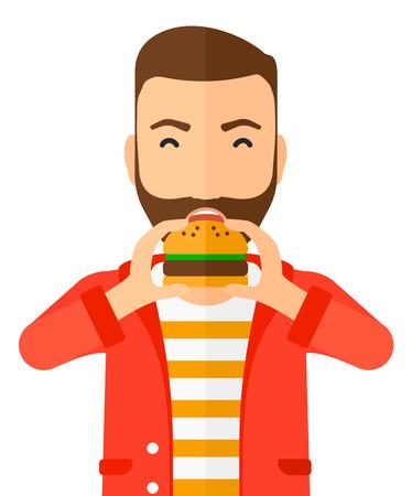 eten: Een gelukkig hipster man eet hamburger vector platte ontwerp illustratie op een witte achtergrond. Verticale lay-out.