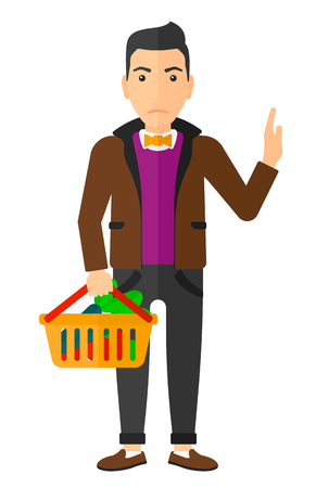buyers: A man holding a supermarket basket full of healthy food and refusing junk food vector flat design illustration isolated on white background. Vertical layout.
