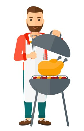 grilling: A hipster man with the beard cooking chicken on barbecue vector flat design illustration isolated on white background. Vertical layout.