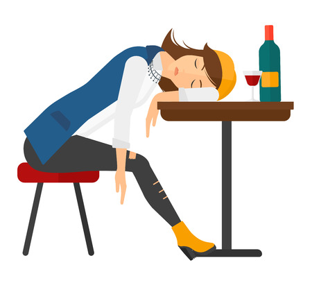 A woman sleeping at the table with a glass and a bottle on it vector flat design illustration isolated on white background. Square layout. Vettoriali