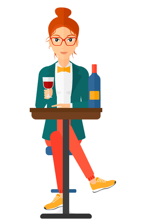 woman drinking wine: A woman sitting at bar and drinking wine vector flat design illustration isolated on white background. Vertical layout.