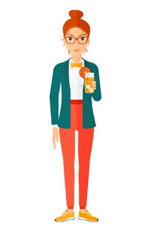 A cheerful woman holding a glass of juice vector flat design illustration isolated on white background. Vertical layout. Ilustração