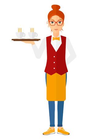 Un charmant waiteress tenant un plateau avec des tasses de thé ou de café vecteur design plat illustration isolé sur fond blanc. Présentation verticale. Banque d'images - 49128088