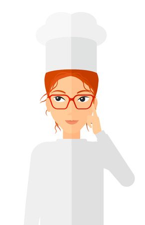 forefinger: A cheerful chief-cooker in uniform pointing forefinger up vector flat design illustration isolated on white background. Vertical layout.