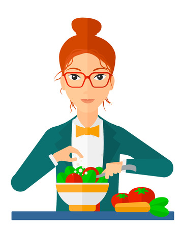 healthy woman white background: A woman cooking vegetable salad vector flat design illustration isolated on white background. Vertical layout.