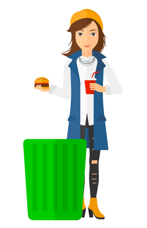 A woman putting junk food into a trash bin vector flat design illustration isolated on white background. Vertical layout.