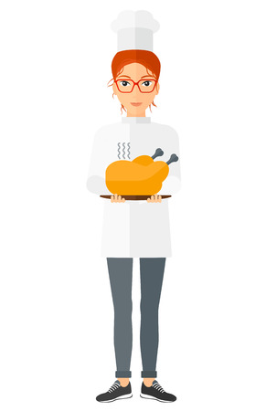 cartoon dinner: A chef holding a plate with a hot chicken vector flat design illustration isolated on white background. Vertical layout. Illustration