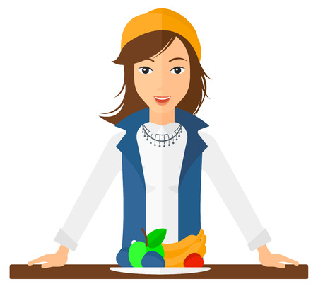 woman eating: An excited woman standing in front of table full of organic healthy food vector flat design illustration isolated on white background. Square layout.
