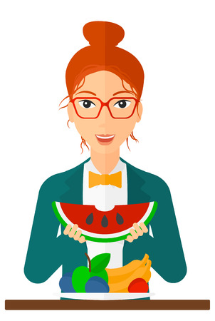 watermelon woman: An excited woman eating watermelon while standing in front of table full of organic healthy food vector flat design illustration isolated on white background. Vertical layout. Illustration