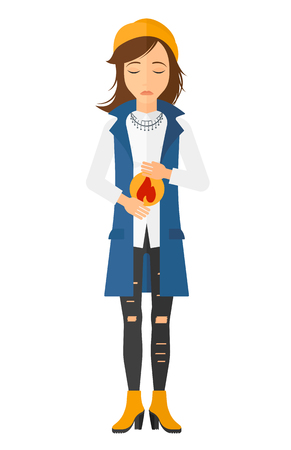 fire in the belly: A woman suffering from heartburn vector flat design illustration isolated on white background. Vertical layout.