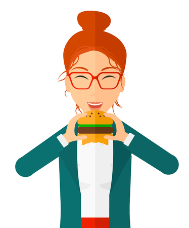 A happy woman eating hamburger vector flat design illustration isolated on white background. Vertical layout.