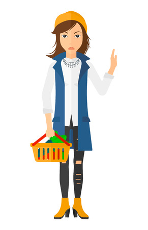 healthy woman white background: A woman holding a supermarket basket full of healthy food and refusing junk food vector flat design illustration isolated on white background. Vertical layout. Illustration