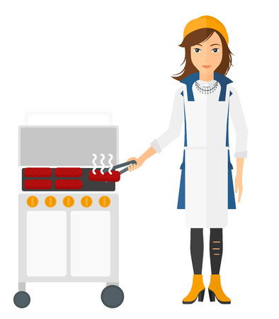 preparing: A woman preparing barbecue vector flat design illustration isolated on white background. Vertical layout.