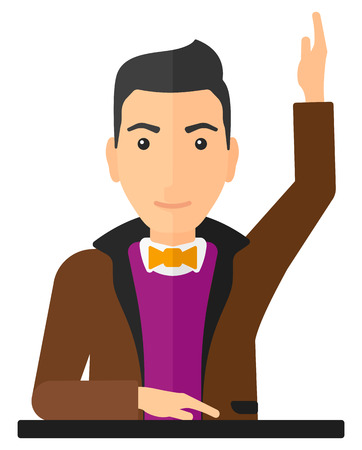 student boy: Man raising his hand while sitting at the table vector flat design illustration isolated on white background. Vertical layout.