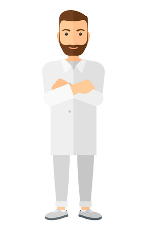medical student: Male laboratory assistant vector flat design illustration isolated on white background. Vertical layout.