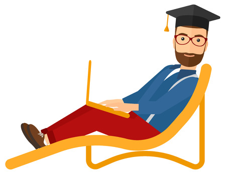 communication cartoon: A hipster man in graduation cap lying in chaise long with laptop vector flat design illustration isolated on white background. Vertical layout. Illustration