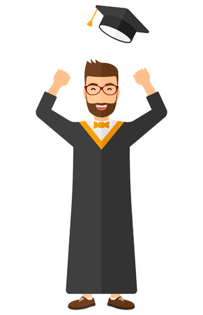 men cartoon: Happy graduate throwing up his hat vector flat design illustration isolated on white background. Vertical layout.
