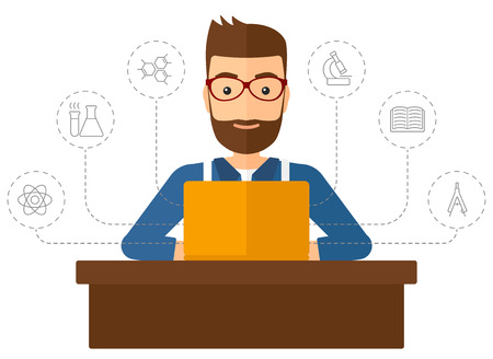 A hipster man with the beard sitting at the table and looking at the screen of laptop connected with icons of school sciences vector flat design illustration isolated on white background. Vertical layout.