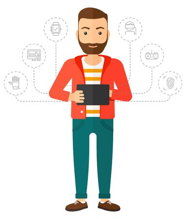 caucasians: A hipster man with the beard standing with a tablet and some icons connected to the laptop vector flat design illustration isolated on white background. Vertical layout.