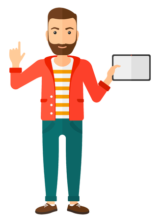 man pointing up: A hipster man standing with a tablet and pointing his forefinger up vector flat design illustration isolated on white background. Vertical layout.