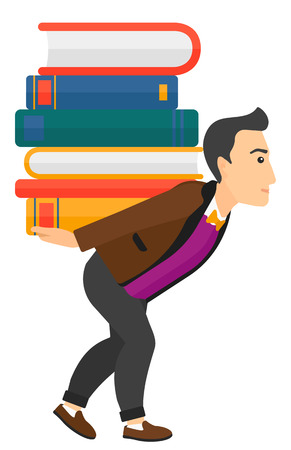 man carrying: A man carrying a pile of books on his back vector flat design illustration isolated on white background. Vertical layout.