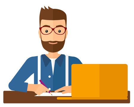 note pc: A hipster man with the beard studying sitting in front of laptop and taking some notes vector flat design illustration isolated on white background. Vertical layout.