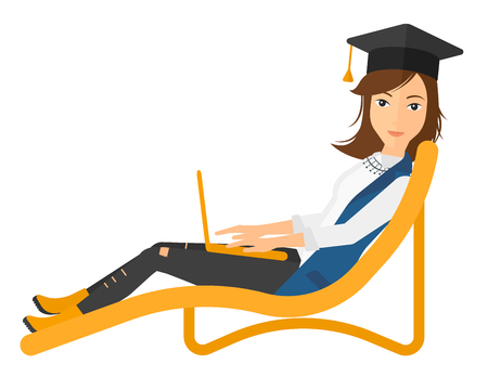 lying in: A woman in graduation cap lying in chaise long with laptop vector flat design illustration isolated on white background. Vertical layout. Illustration