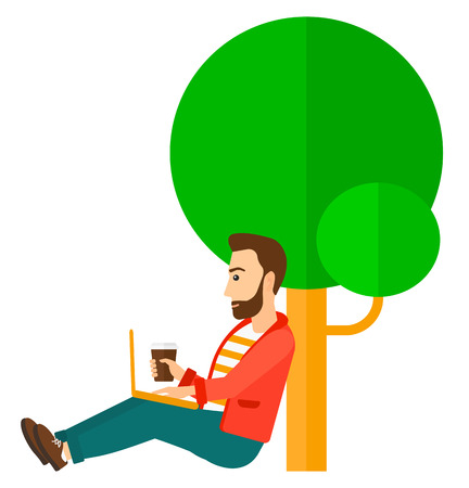 cartoon graduation: A hipster man studying in park using a laptop and drinking coffee vector flat design illustration isolated on white background. Vertical layout.