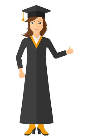 Graduate in cloak and hat showing thumb up sign vector flat design illustration isolated on white background. Vertical layout.