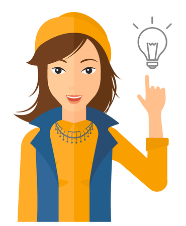 smart woman: A woman pointing a finger at the light bulb vector flat design illustration isolated on white background. Vertical layout.