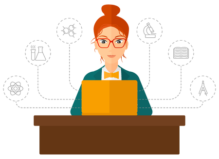 science lesson: A woman sitting at the table and looking at the screen of laptop connected with icons of school sciences vector flat design illustration isolated on white background. Vertical layout. Illustration