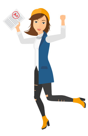 A happy pupil holding a sheet with the highest mark vector flat design illustration isolated on white background. Vertical layout. Иллюстрация