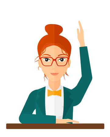 hands up: Woman raising her hand while sitting at the table vector flat design illustration isolated on white background. Vertical layout. Illustration