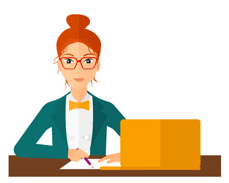taking notes: A wman studying sitting in front of laptop and taking some notes vector flat design illustration isolated on white background. Vertical layout.
