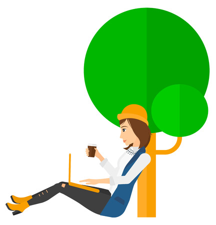 woman using laptop: A woman studying in park using a laptop and drinking coffee vector flat design illustration isolated on white background. Vertical layout.