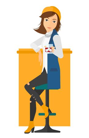 bar counter: A woman sitting near the bar counter vector flat design illustration isolated on white background. Vertical layout.