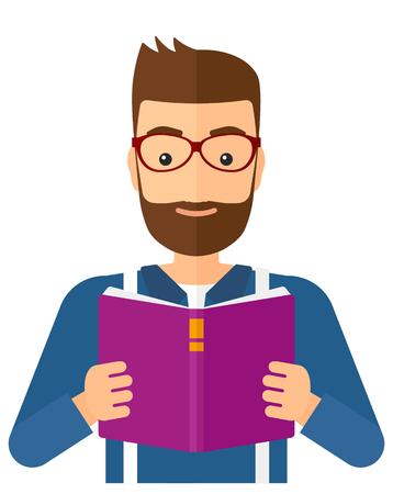 Hipster człowiek z brodą czyta książkę wektor płaskim projektowania ilustracji na białym tle. układ pionowy.